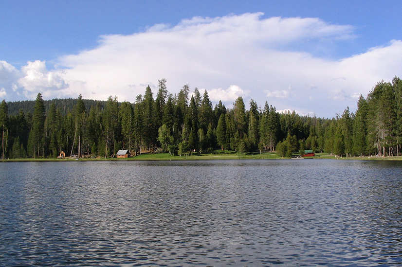 View from the dam towards lake and Smith cabins